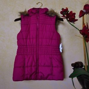 NWT New York & Company Pink Fur Lined Vest